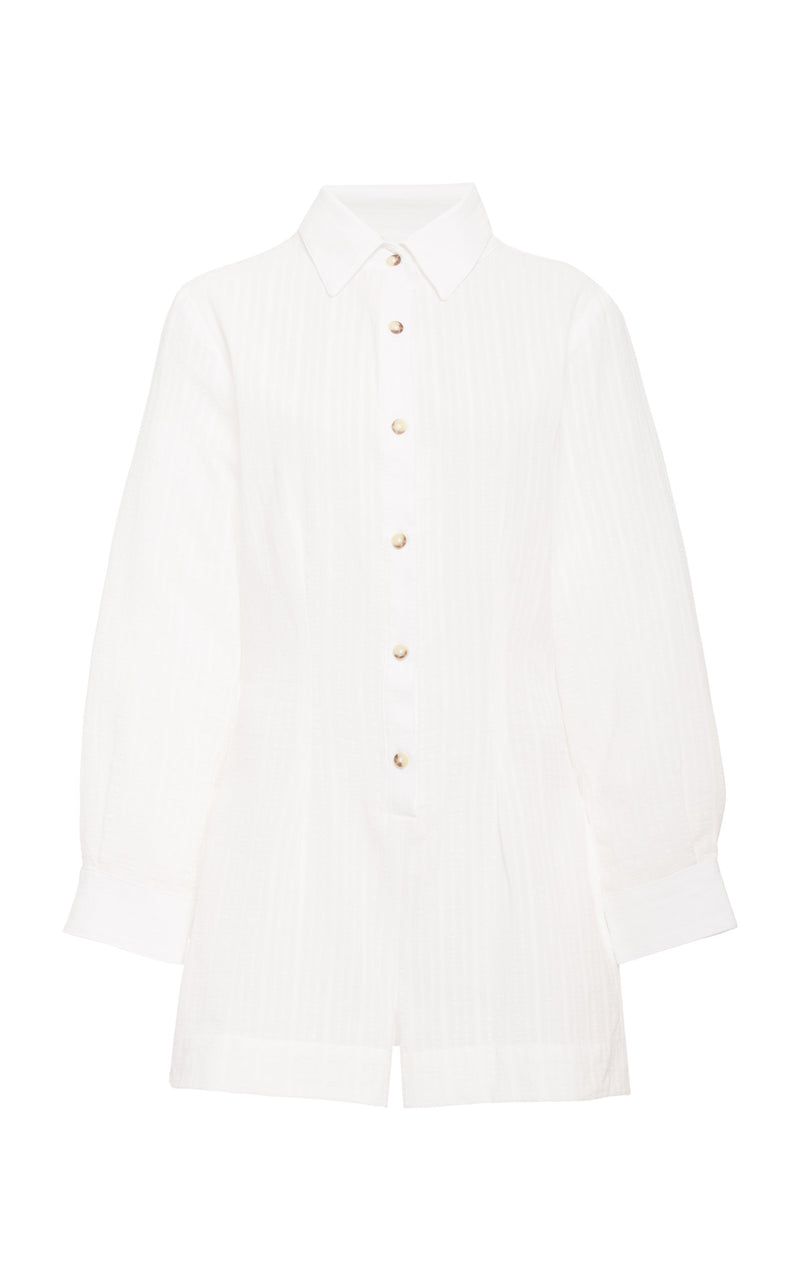 The Lauren Button-Down Romper in Off White Daddy Crepe