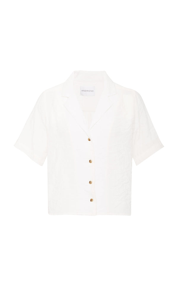 The Hutton Short Sleeve Button-Down Shirt in White Ramie