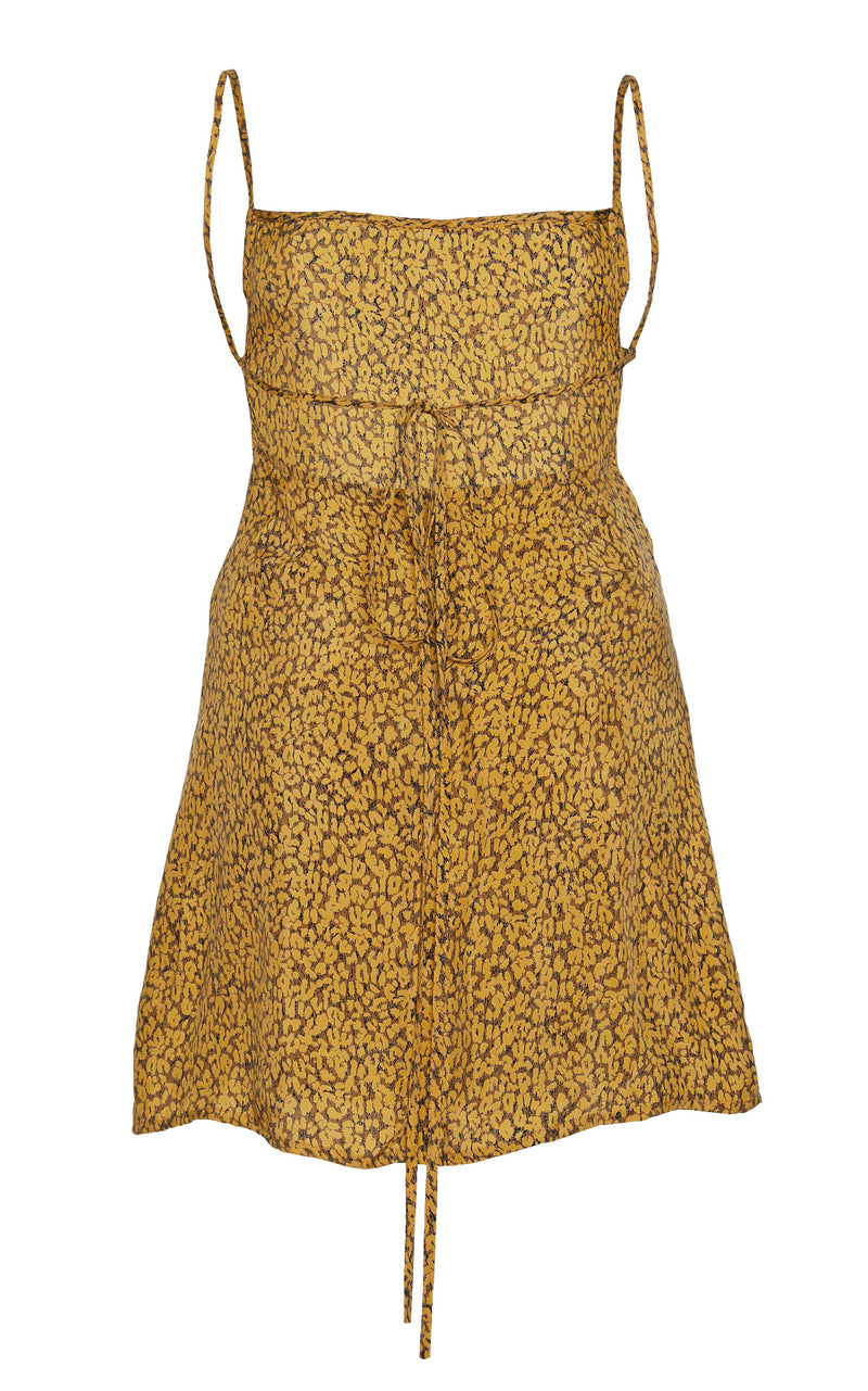 The K.M. Tie Mini Dress in Leopard Print Cupro