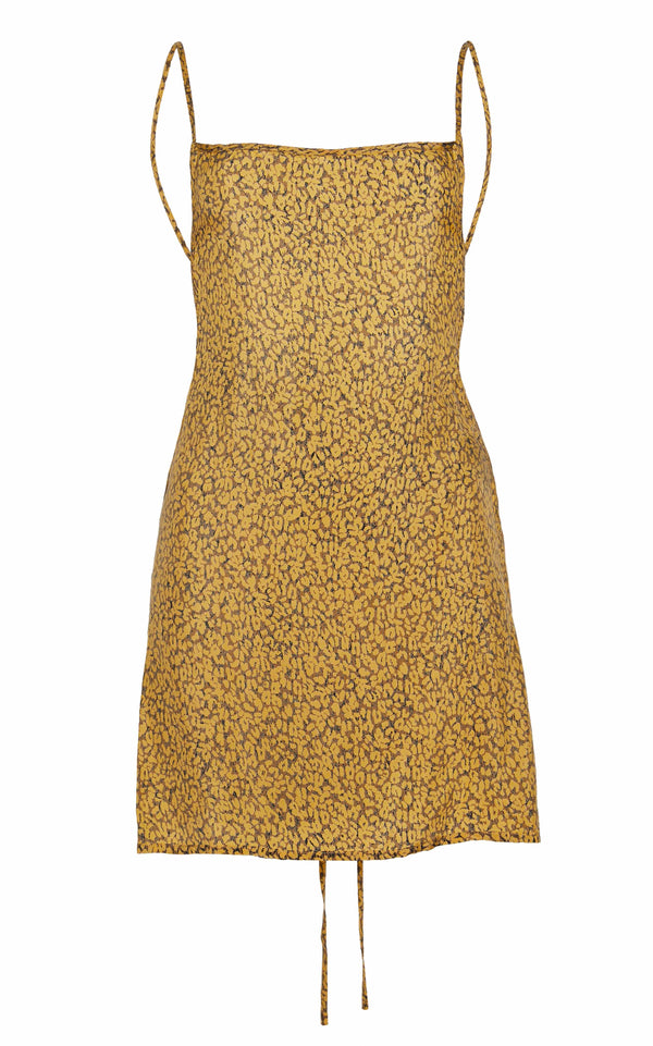 The K.M. Tie Mini Dress in Yellow Leopard Print Cupro