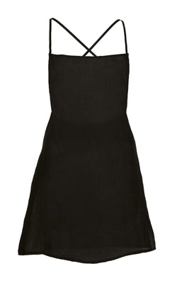 The K.M. Tie Mini Dress in Black Ramie