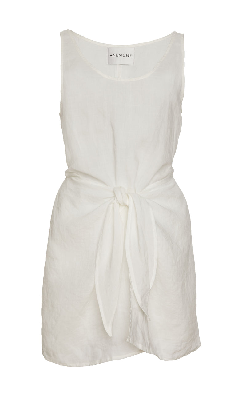 The D.K. Mini Wrap Dress in White Spanish Pima Cotton