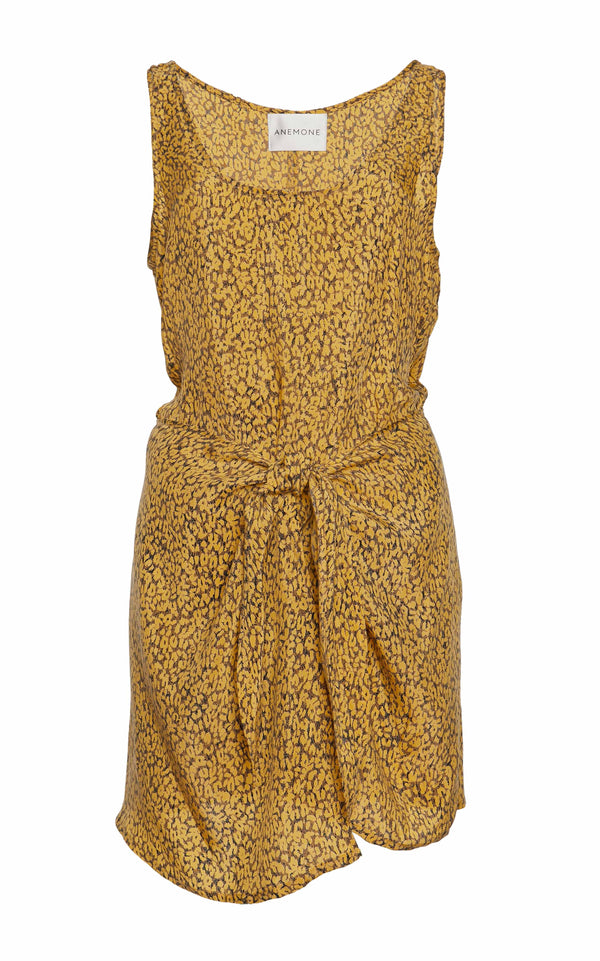 The D.K. Mini Wrap Dress in Yellow Leopard Print Cupro
