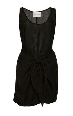 The D.K. Mini Wrap Dress in Black Ramie