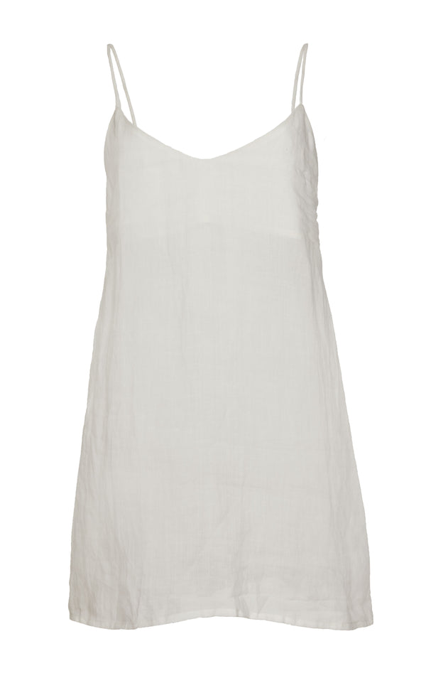 The Slip Mini Dress in White Ramie with Tortoise Ring Detail