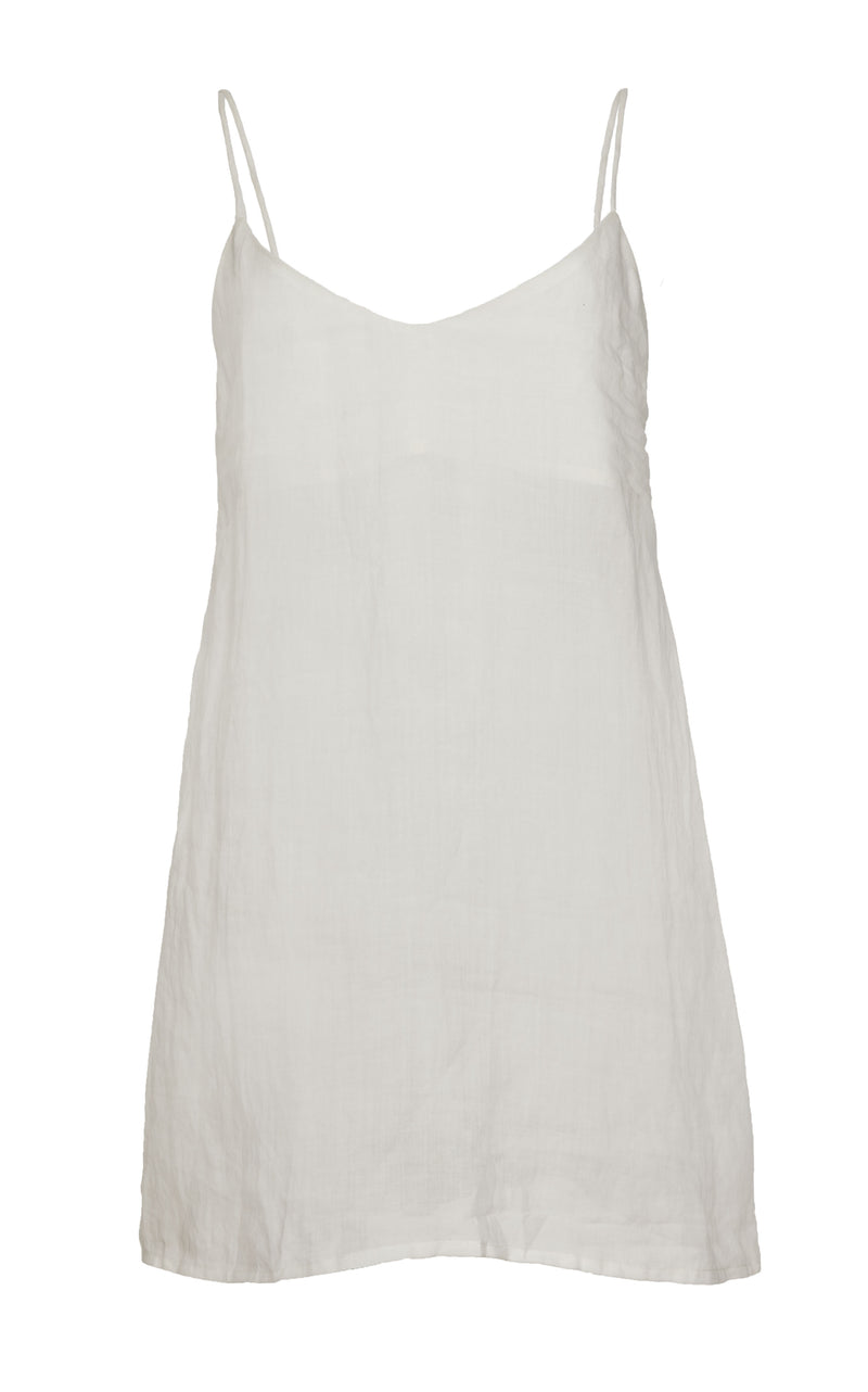 PREORDER: The Slip Mini Dress in White Ramie with Tortoise Ring Detail