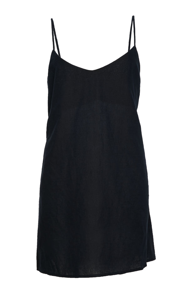 The Slip Mini Dress in Navy Cotton Linen Blend