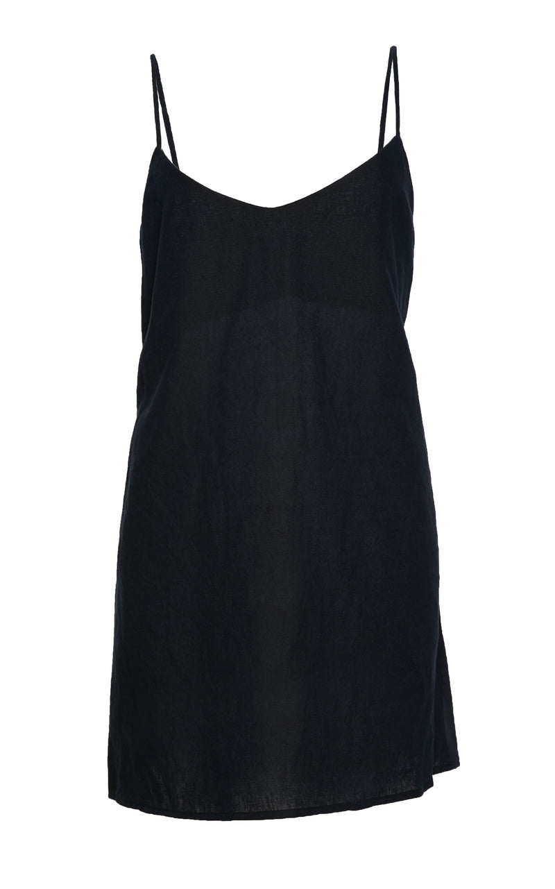 The Slip Mini Dress in Navy Blue Linen and Cotton Blend with Tortoise Ring Detail