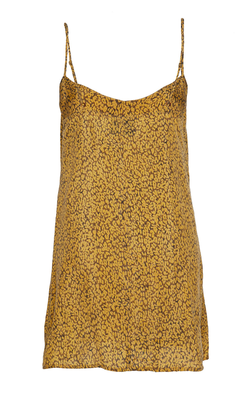 The Slip Mini Dress in Leopard Print Turkish Cupro with Tortoise Ring Detail