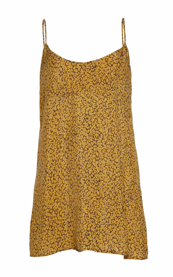 The Slip Mini Dress in Yellow Leopard Print Cupro