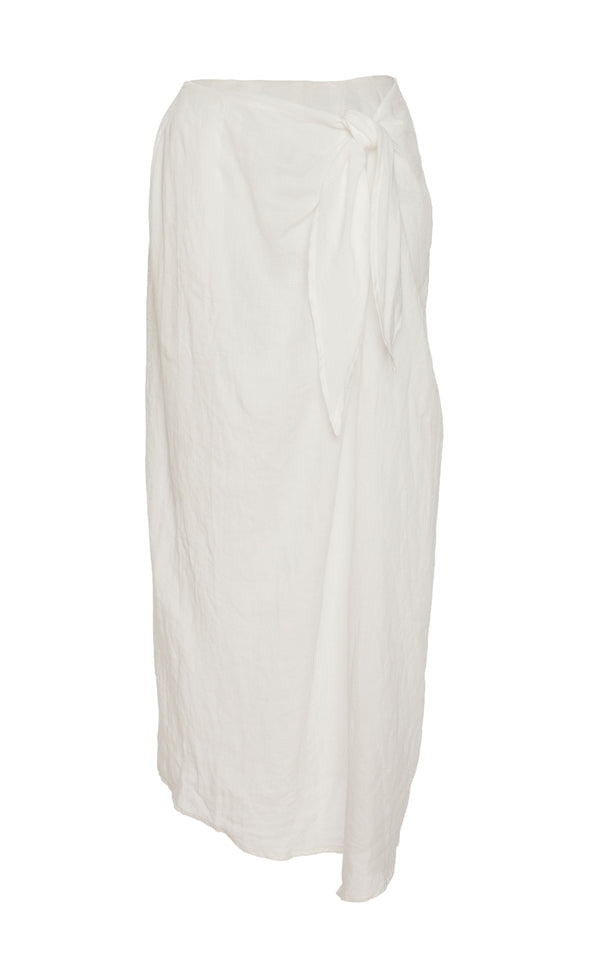The Wrap Midi Skirt in White Ramie