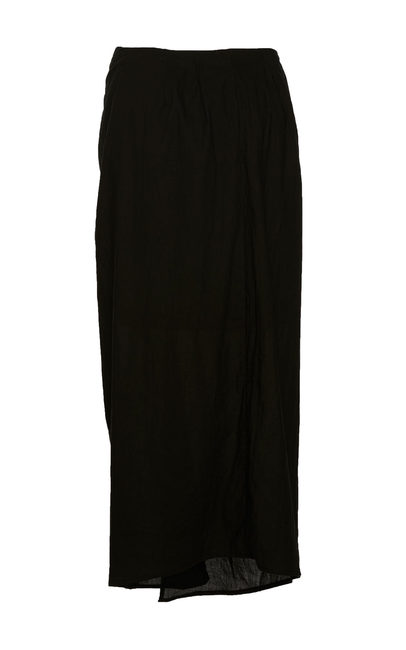 The Wrap Midi Skirt in Black Spanish Pima Cotton