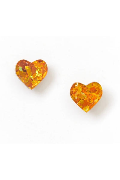 Heart Stud Earrings | Amber