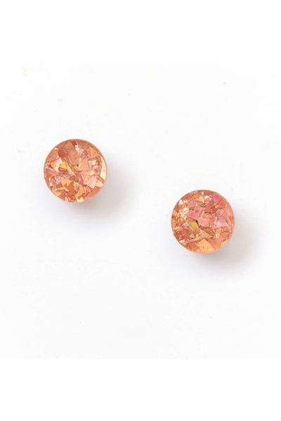 Mini Circle Stud Earrings | Pink