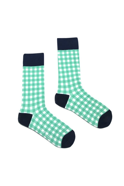 Socks | Green Gingham Check