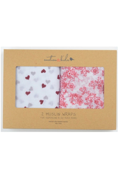 Japanese Blossom & Red Hearts Muslin 2 Pk