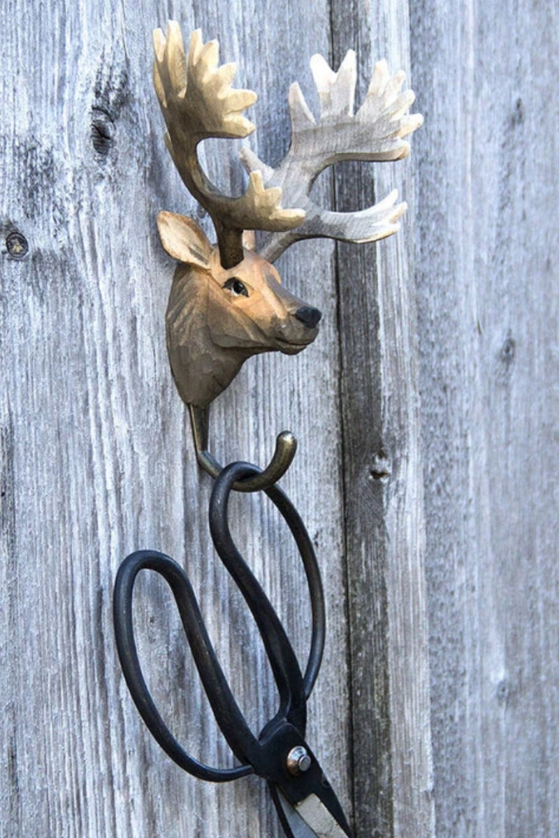 Hand Carved Deer Hook