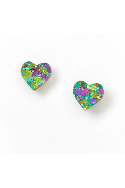 Heart Stud Earrings | Peacock