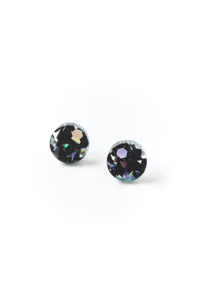 Mini Circle Stud Earrings | Black Cosmos