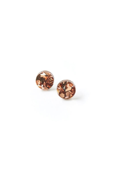 Mini Circle Stud Earrings | Dusty Pink