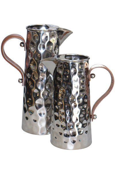 Bolt Hammered Jug w Leather Handle 33cm