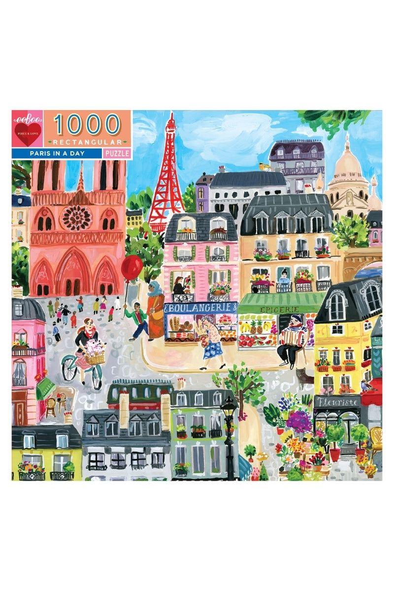 eeBoo 1000 Pc Puzzle - Paris In A Day
