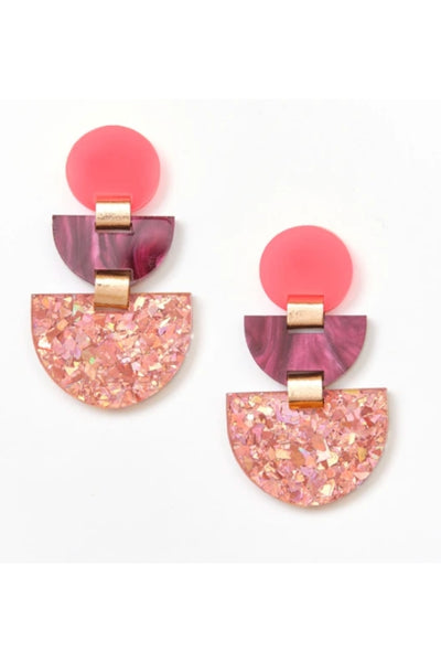 Boat Earrings | Neon Pink