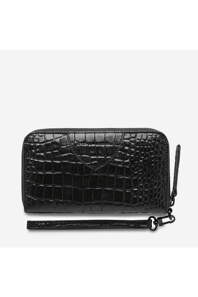 Moving On Wallet | Black Croc Emboss