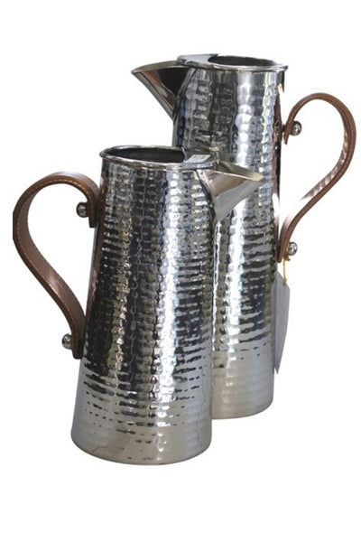 Mini Hammered Jug w Leather Handle
