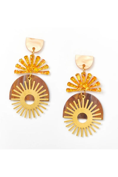 Sunset Earrings | Gold/Amber