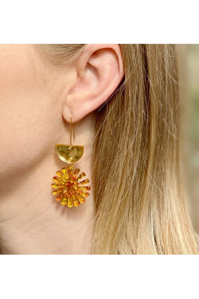 Star Drop Earrings | Gold/Amber