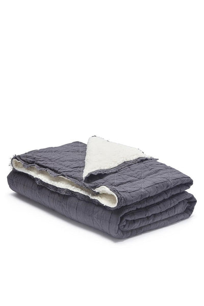 Quilt Sherpa Throw | Dark Grey
