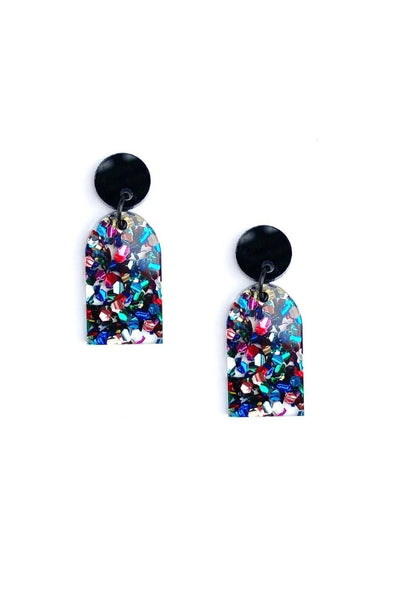 Arc Earrings | Black Disco