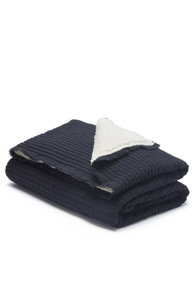 Ribbed Sherpa Throw | Black