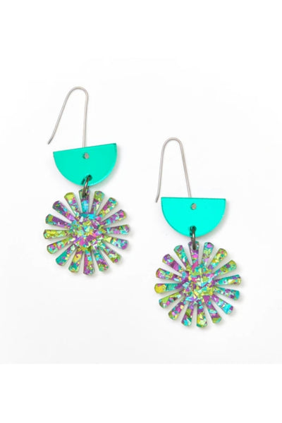 Star Drop Earrings | Green/Peacock