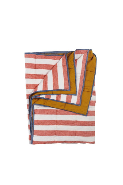 Cherry Stripe/Turmeric Double Sided Quilt | Standard