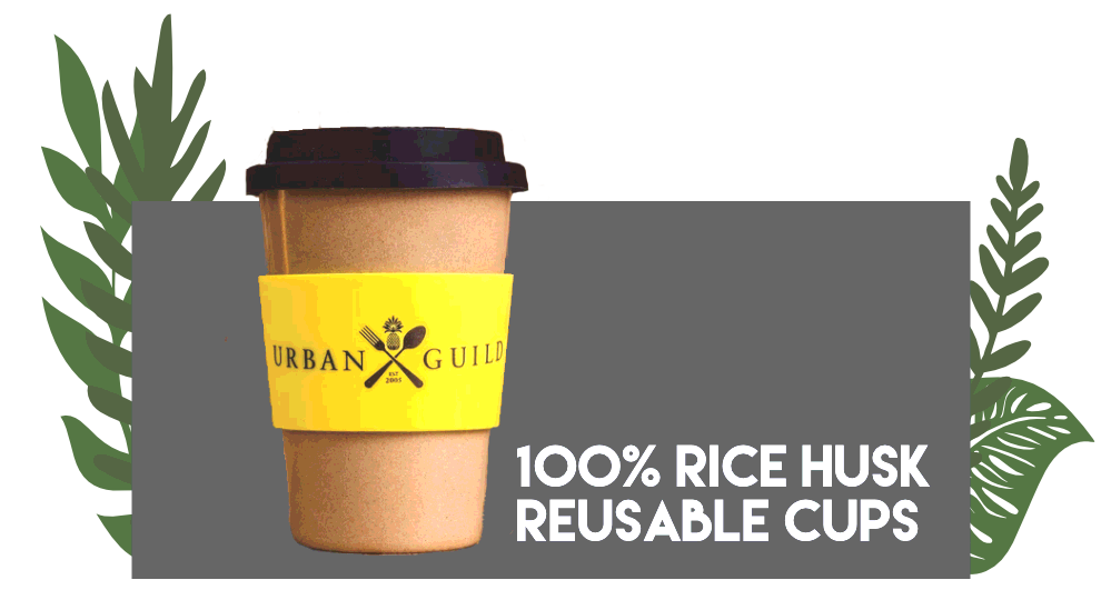 Our 100% rice husk cups provide you with the perfect alternative to plastic takeaway cups, and even better we give you 10% off all hot drinks for bringing reusable cups.