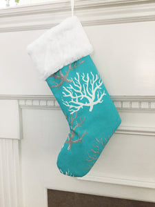 Beach Christmas Stockings in Turquoise