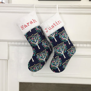 Hanukkah Stocking with Menorah Trees