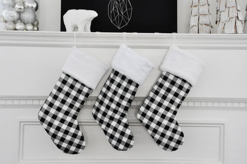 Buffalo Plaid Christmas Stockings in Black and White