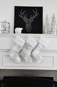 Farmhouse Christmas Stockings in French Grey