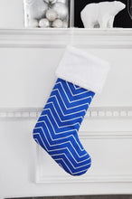 Nordic Blue and Grey Geometic Christmas Stockings