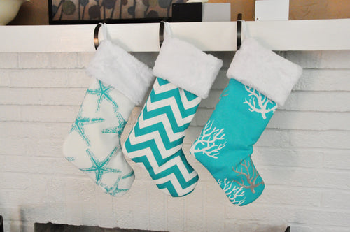 Turquoise Christmas Stockings with Nautical Theme
