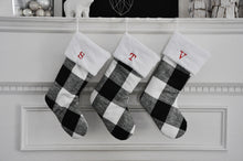 Buffalo Check Christmas Stockings in Black and White