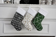 Black, Gold and Pine Green Christmas Stockings