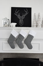 Black and White Striped Christmas Stocking