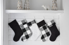 Black and White Buffalo Check Farmhouse Style Christmas Stockings