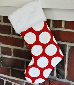 Geometric Christmas Stockings in Lipstick Red