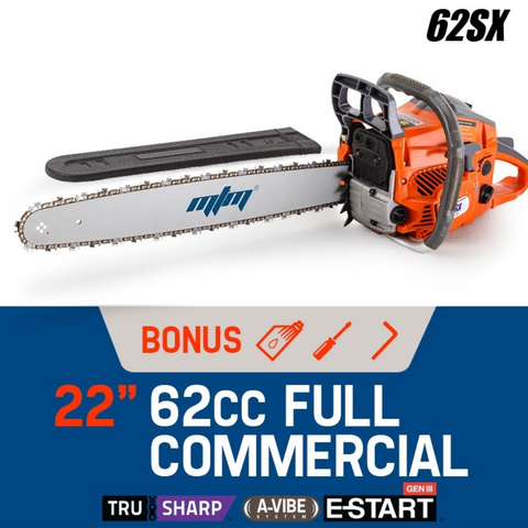 "62cc 22"" Bar E-Start Commercial Petrol Chainsaw"