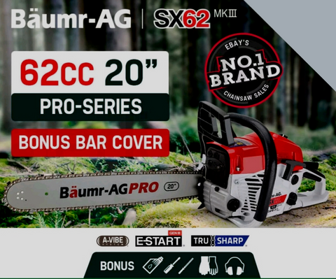 "AG 62CC 20"" E-Start Commercial Petrol Chainsaw"